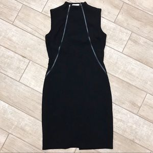 Double Zip Front Hi-Neck Sheath Dress Calvin Klein